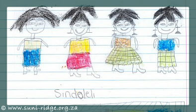 This picture was drawn by Sindoleli, a pupil at False Bay School