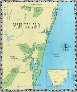©  Click to see an enlarged map of Maputaland in KwaZulu Natal, South Africa