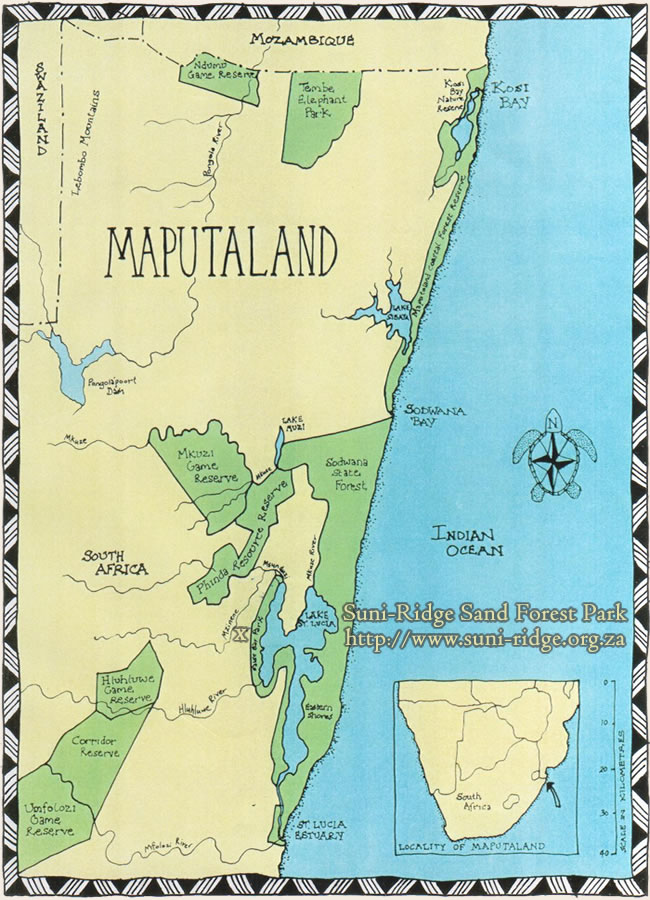 Map of the Maputaland Region - home to Suni-Ridge Sand Forest Park (www.suni-ridge.org.za)